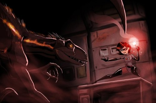 incredibles indoraptor raptor jurassic world elastagirl mrs incredible crossover fanart
