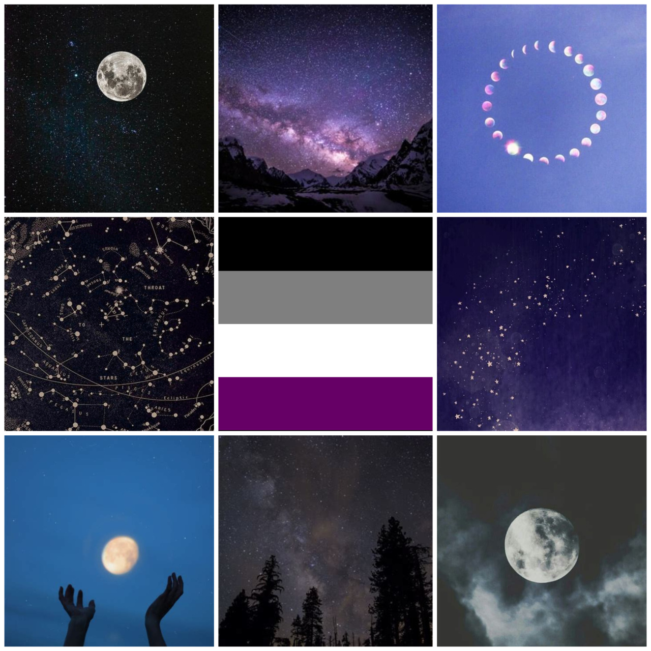 Moon and stars asexual moodboard for anon! Thank you for the request, I hope you like it :D #ace#ace moodboard#asexual#asexual moodboard#moon#moon aesthetic#stars#star aesthetic#lgbt#lgbt moodboard