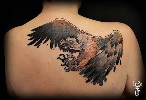 By Loic Pouillon · Loxiput, done at Blacksheep Tattoo, Grenoble.... loxiput;vulture;big;animal;bird;facebook;upper back;twitter;new school