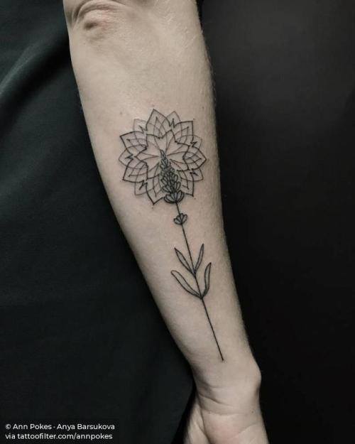 By Ann Pokes · Anya Barsukova, done at Vaders.Dye Tattoo,... flower;of sacred geometry shapes;mandala;lavender;hand poked;facebook;nature;forearm;twitter;annpokes;medium size