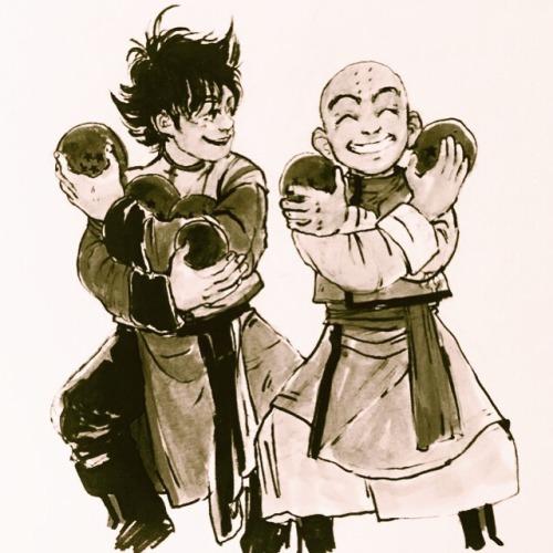Goku Krillin Dragon Ball Ink Wash jasart sketches