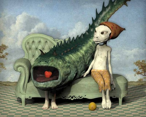 Don Bergland painting fish couch lemon apple mouth monster