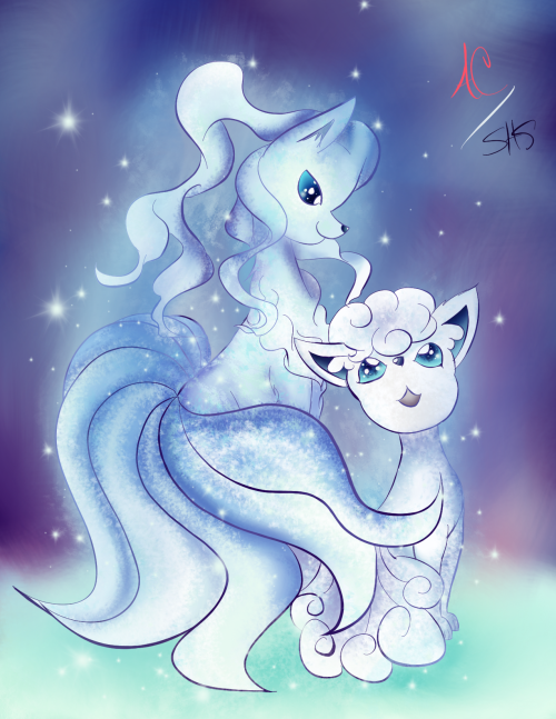 Drew this based on the Alola Vulpix and Ninetales!!!