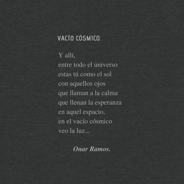 Sovuenir: VACÍO CÓSMICO. -Onar Ramos.