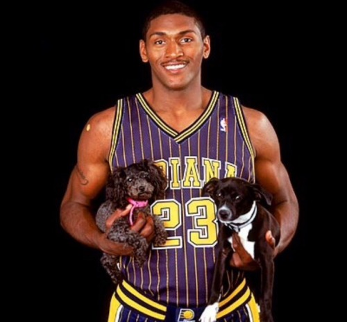 Metta World Peace aka Ron Artest with some puppies #ron artest#athletes#basketball players#dogs#puppies #black guys with puppies  #metta world peace
