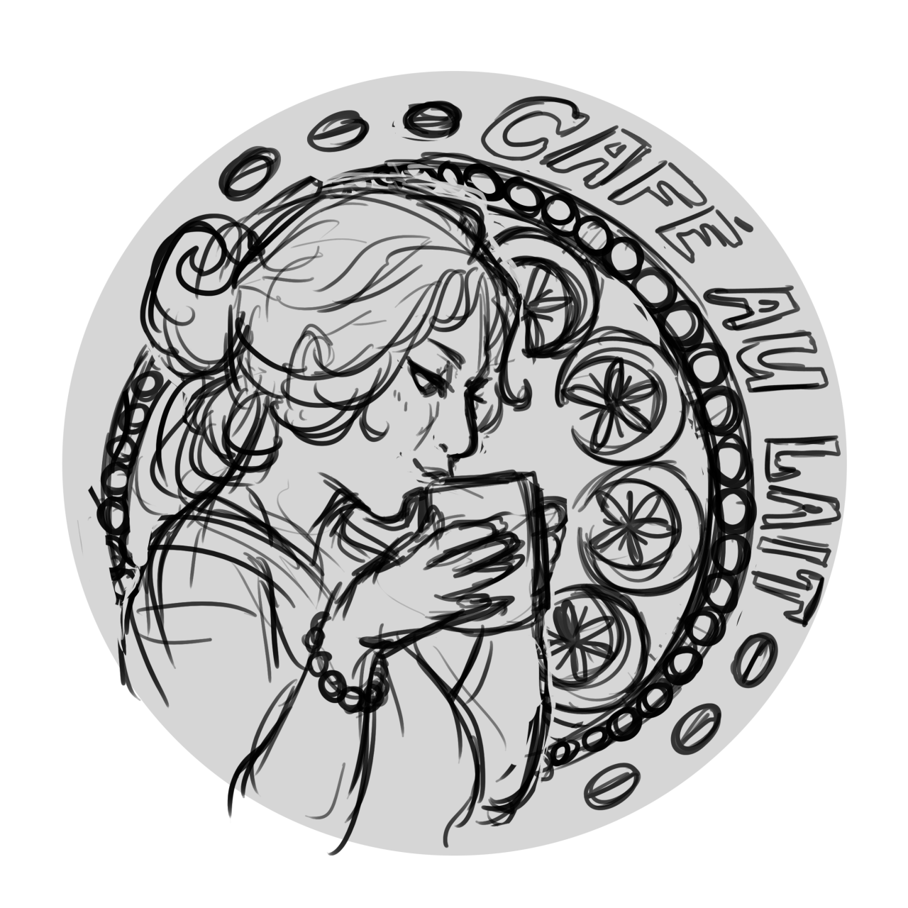 One of the initial ideas for the Cafe AU Lait coasters was something a bit art nouveau-y… Because Nouveau is sorta associated with romance and Mucha is somewhat known for his hot chocolate advertisements so it's SORT OF related… But ultimately we dropped the idea because it's not quite relevant enough. Nice enough sketches though! In the end we went with the simple but cute coffee bean heart design that you see over at the Kickstarter! :) https://www.kickstarter.com/projects/557383328/cafe-au-lait-comics-anthology #sketch#art nouveau #cafe au lait