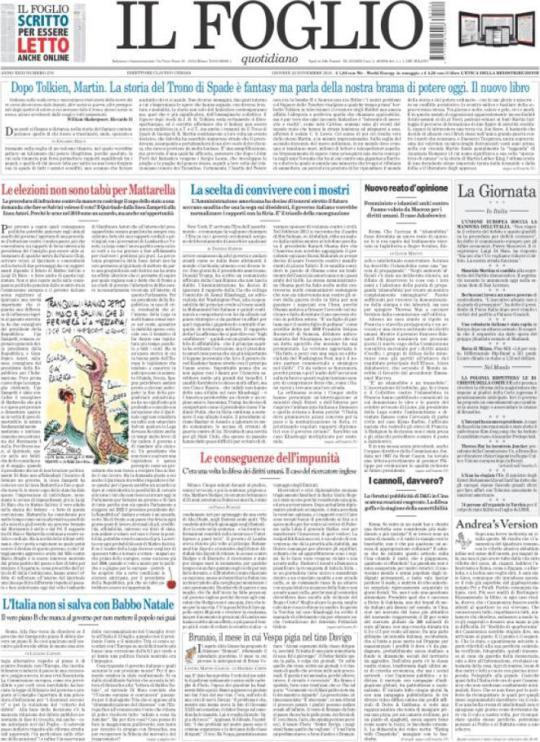 Prima Pagina Il Foglio 22/11/2018