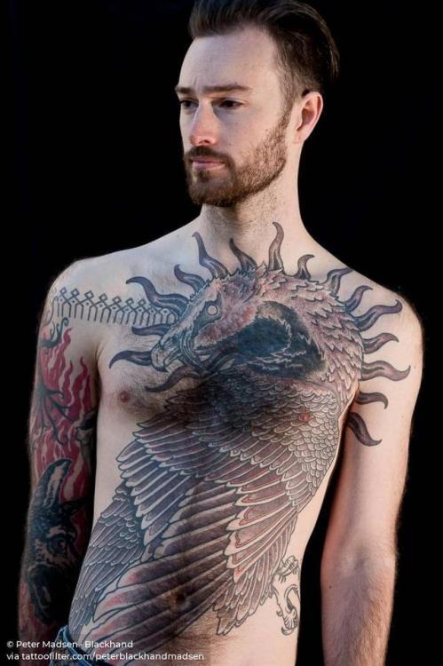 By Peter Madsen · Blackhand, done at Meatshop Tattoo, Barcelona.... vulture;dotwork;torso;animal;huge;bird;facebook;twitter;peterblackhandmadsen;illustrative
