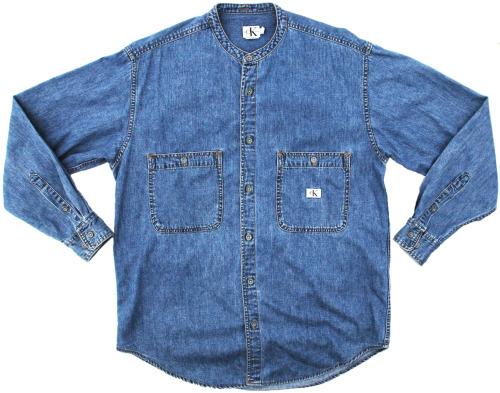 vintage calvin klein mandarin collar denim shirt menswear streetwear grubby mits