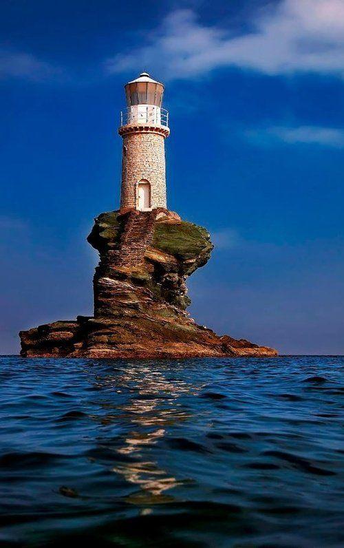 "sh-inaam: ""Tourlitis lighthouse, in Andros Island (Cyclades),Greece // by Antonis Lemonakis """