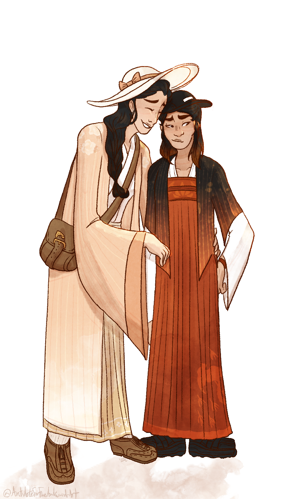 *thinks about modern hanfu* *thinks about modern hanfu* *thinks about modern hanfu* *thinks about modern hanfu* *thinks about mo #my art#original art#Chinese hanfu #hanfu revival movement #hanfu movement#ocs #trinity and demetria #trinity wang#demetria chen #oh my god I havent drawn them in so long....  #theyre on a date in guangdong #character design #being a hanfu designer would be fun....