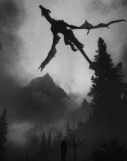 dark darkness horror skyrim dragon