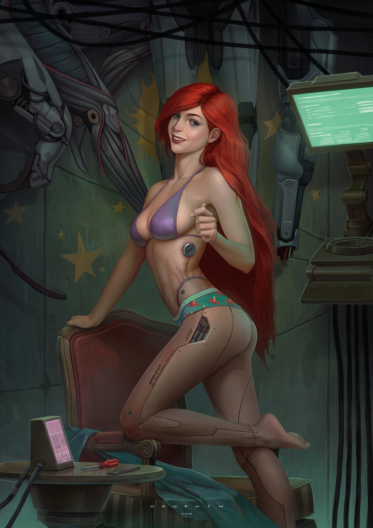 Ilya Ozornin #Ilya Ozornin#ozornin#Ariel#Cyber#Mermaid#Cyberpunk#Dystopia#new legs#Cyborg#redhead#Index#Fave#Batch 192#Absolute Favourite#Outstanding#cherry red
