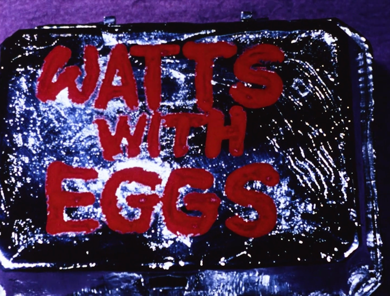Watts with Eggs (Marie Menken, 1967) #watts with eggs #marie menken#short film#menken#eggs#colour#purple#experimental cinema#1967#title credits