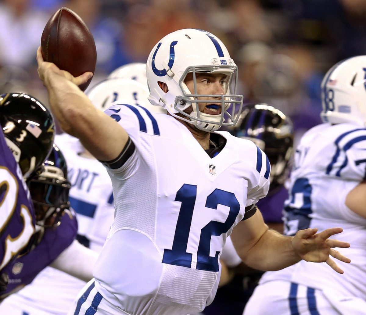 Andrew Luck hit on all eight of his passes for the Indianapolis Colts (AP).