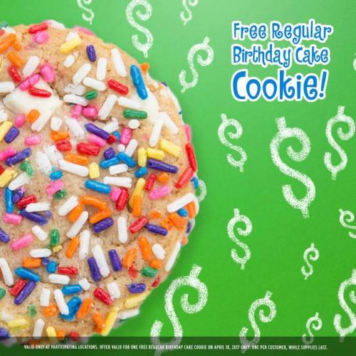 For Tax Day On April 18th You Can Score A Free Birthday Cake Cookie From