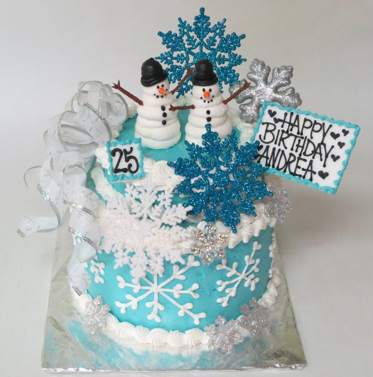 Fantastic Cakes Etc Winter Themed Golden Birthday Cake Funny Birthday Cards Online Elaedamsfinfo