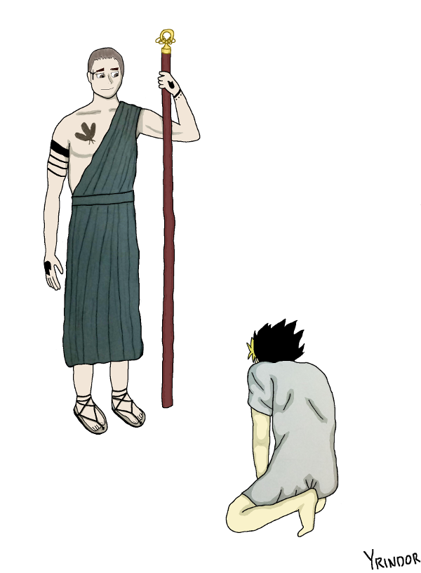 Asahi as a warrior monk standing in front of kneeling peasant Nishinoya