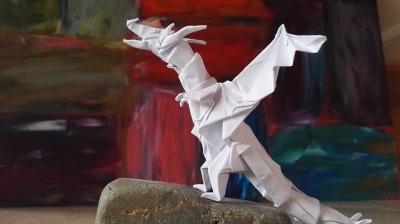 BEST origami Kawahata Yoda Fiery Dragon and Figura Humana ... | 224x400