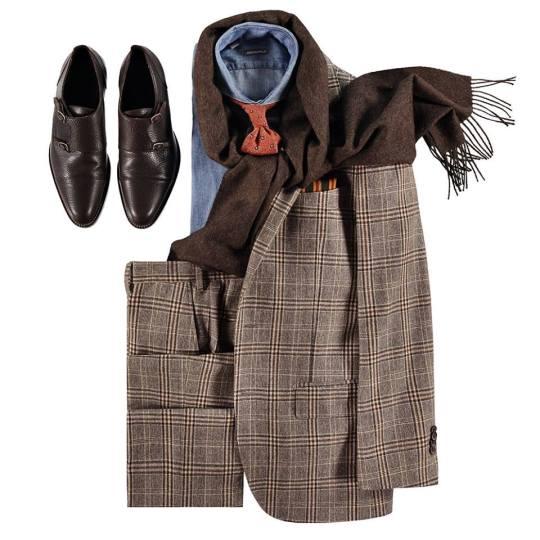 """ff2cb42740 A teljes hadi felszerelés az őszi reggelek ellen, sál, kockás szett,  """"double monk"""" cipő. és farmerre hajazó kék ing, bordós mintás nyakkendővel."""