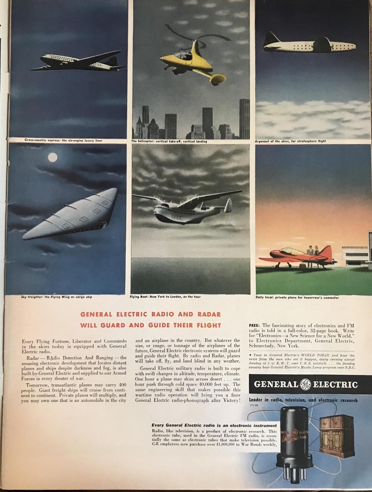 A retro-futuristic GE ad from a 1943 Life Magazine - Vintage