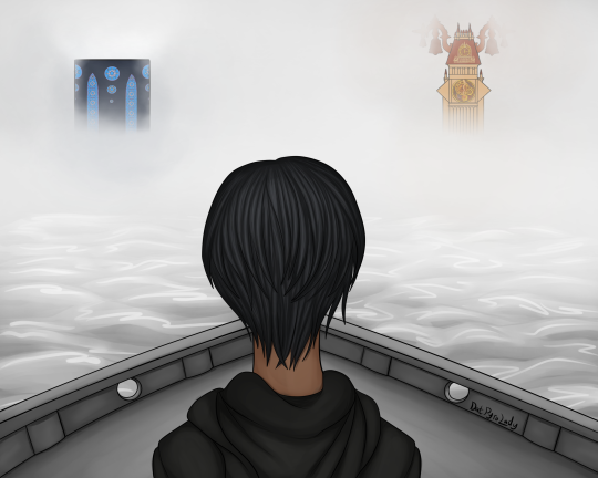 illustration of xion overlooking the river, with the clocktower and station of awakening in the distance