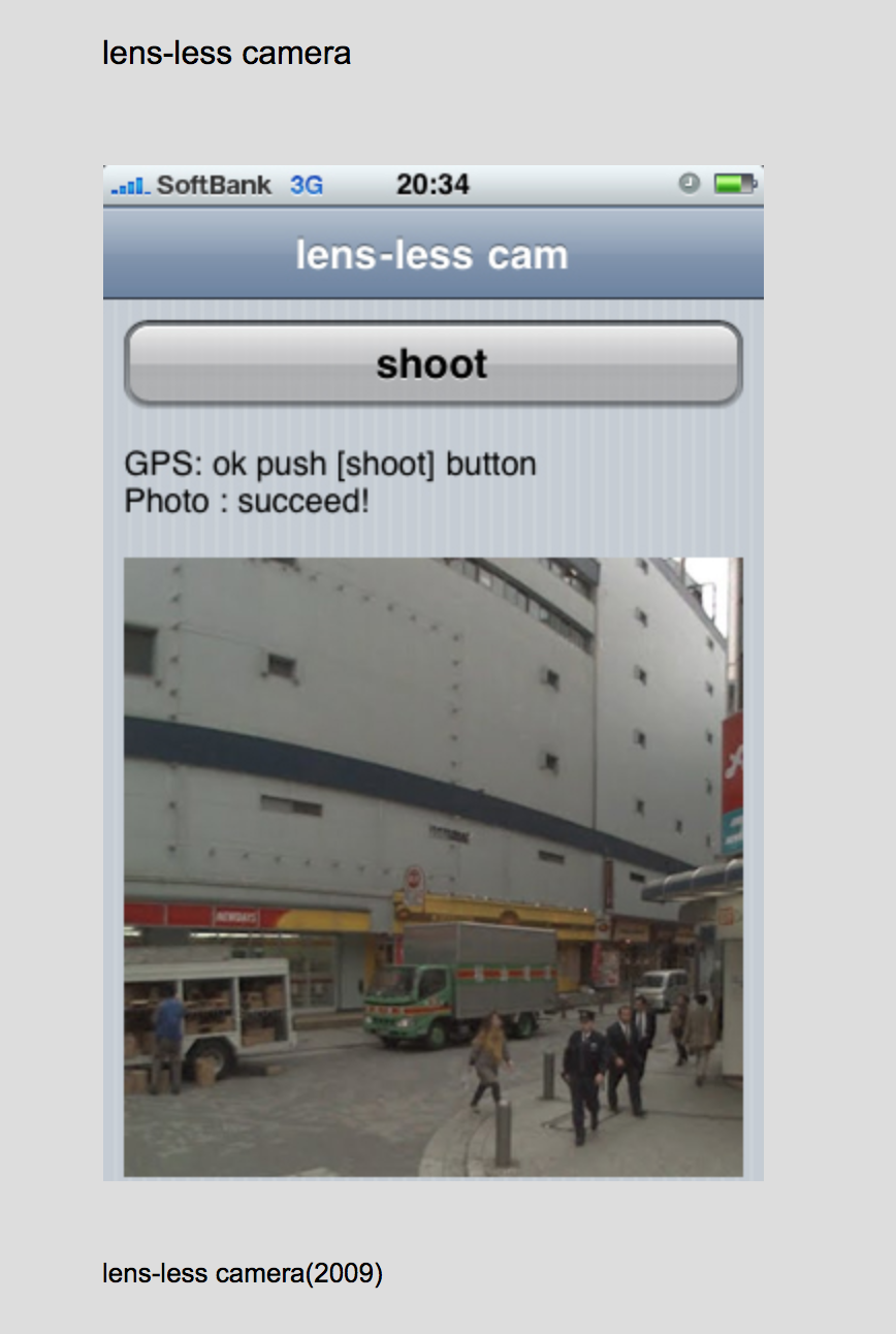 By Akihiko Taniguchi  Taniguchi created a web application for iPhone that allows you to take pictures without using the phone's...