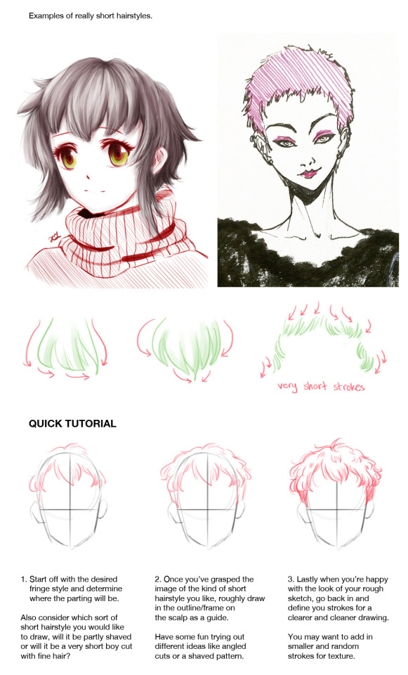 Female Short Hairstyles Concept Art Drawing