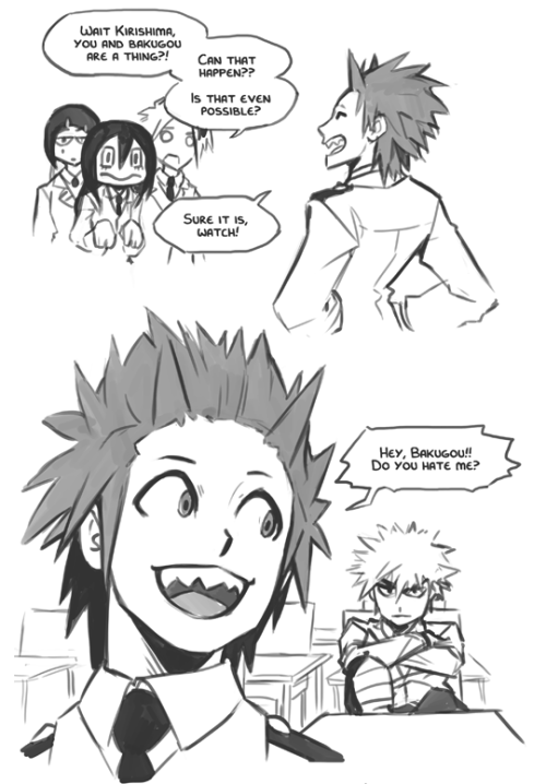 h0lyhandgrenade:  I don't actually have any student ships myself, but this strip came to me nonetheless. So here's one for the bakugou/kirishima shippers :> #its canon#bnha#kiribaku
