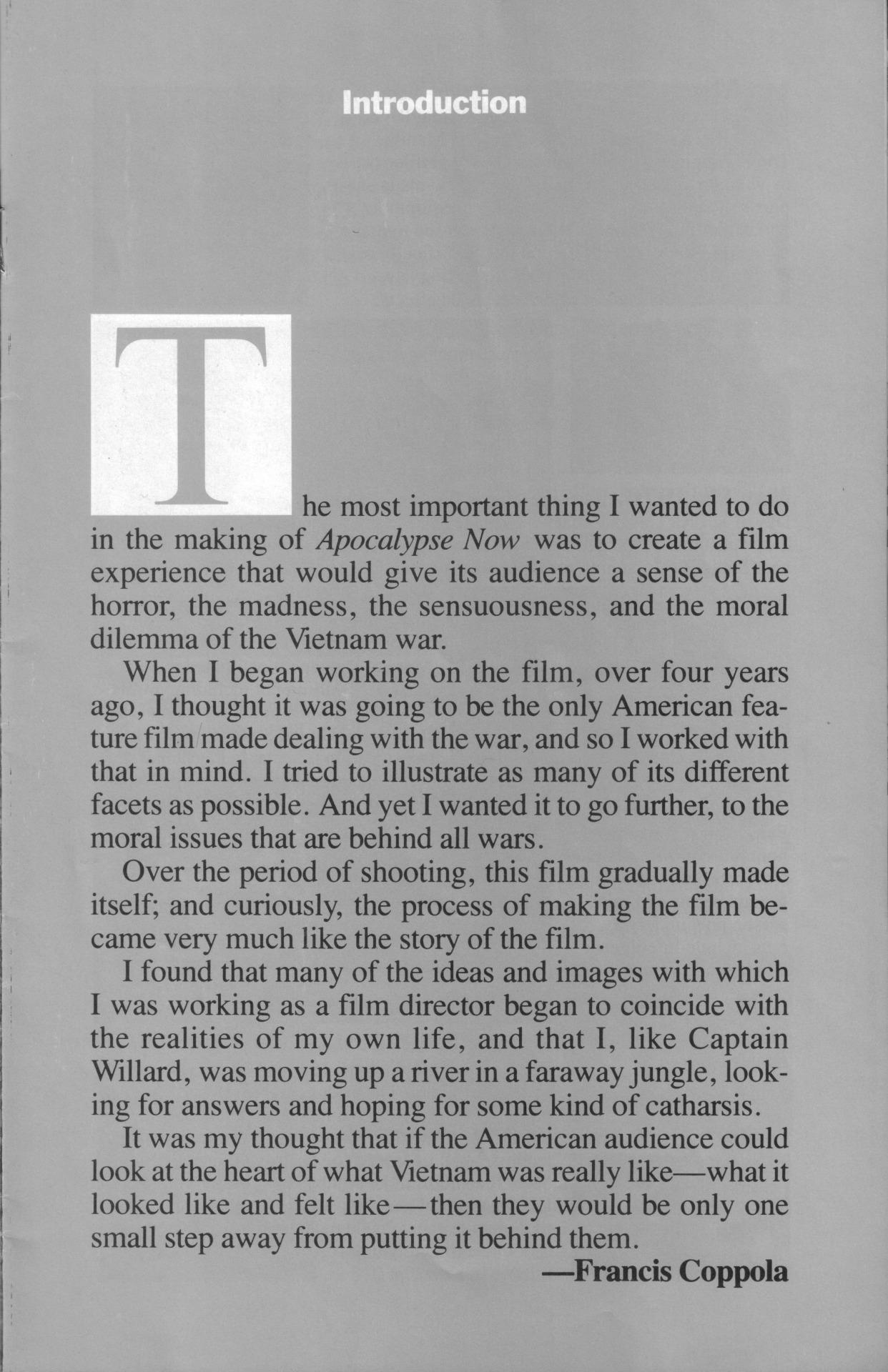 Apocalypse Now - Movie Program