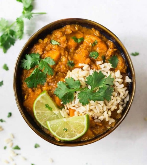 salt slow cooker lentil curry sweet potatoes wellplated
