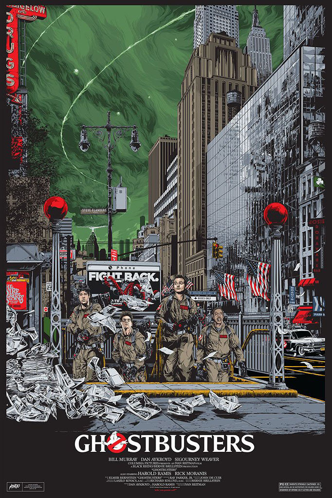 brokehorrorfan:Mondo will release a Ghostbusters 24x36 screen print by Ken Taylor tomorrow, February 12, at 1pm PST. The timed edition (left) will be available for only 72 hours hours for $55. The variant is limited to 300 and costs $75.