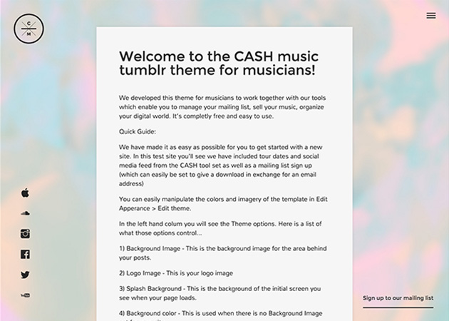 CASH Music - Template for musicians | Tumblr