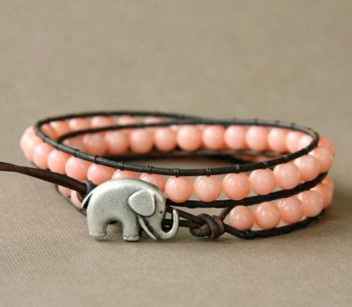 lucky elephant wrap bracelet pink coral elephant fashion jewelry beach summer