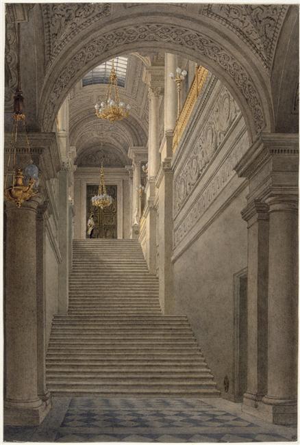 The vestibule staircase of the Tuileries Palace, depicted in 1830-1835. © RMN (Musée d'Orsay) / Hervé Lewandowski