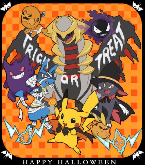 pokemon halloween pokemon giratina garchomp gastly gengar lucario sneasel pikachu gulpin rotom